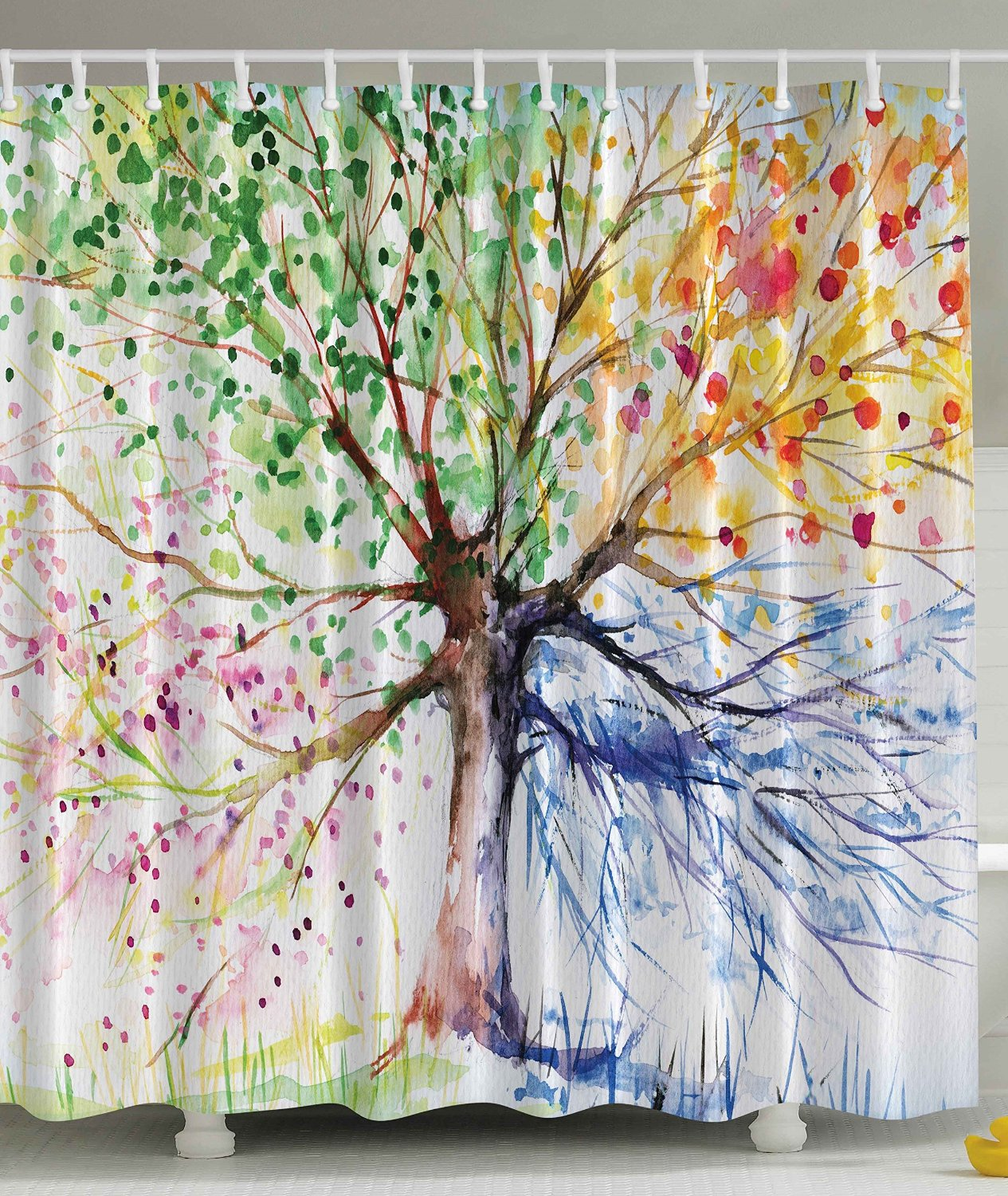 Four Seasons Tree Shower Curtain Doormat Berry Green Red Yellow Navy ...