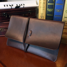 ETONWEAG New 2017 women famous brands cow leather brown string envelope organizer wallets vintage day clutch bags document bags