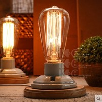 Vintage Wood Porcelain Table Lamp In Industrial Loft Style Edison Table Lamps For Bedroom,Luminaria Lamparas De Mesa