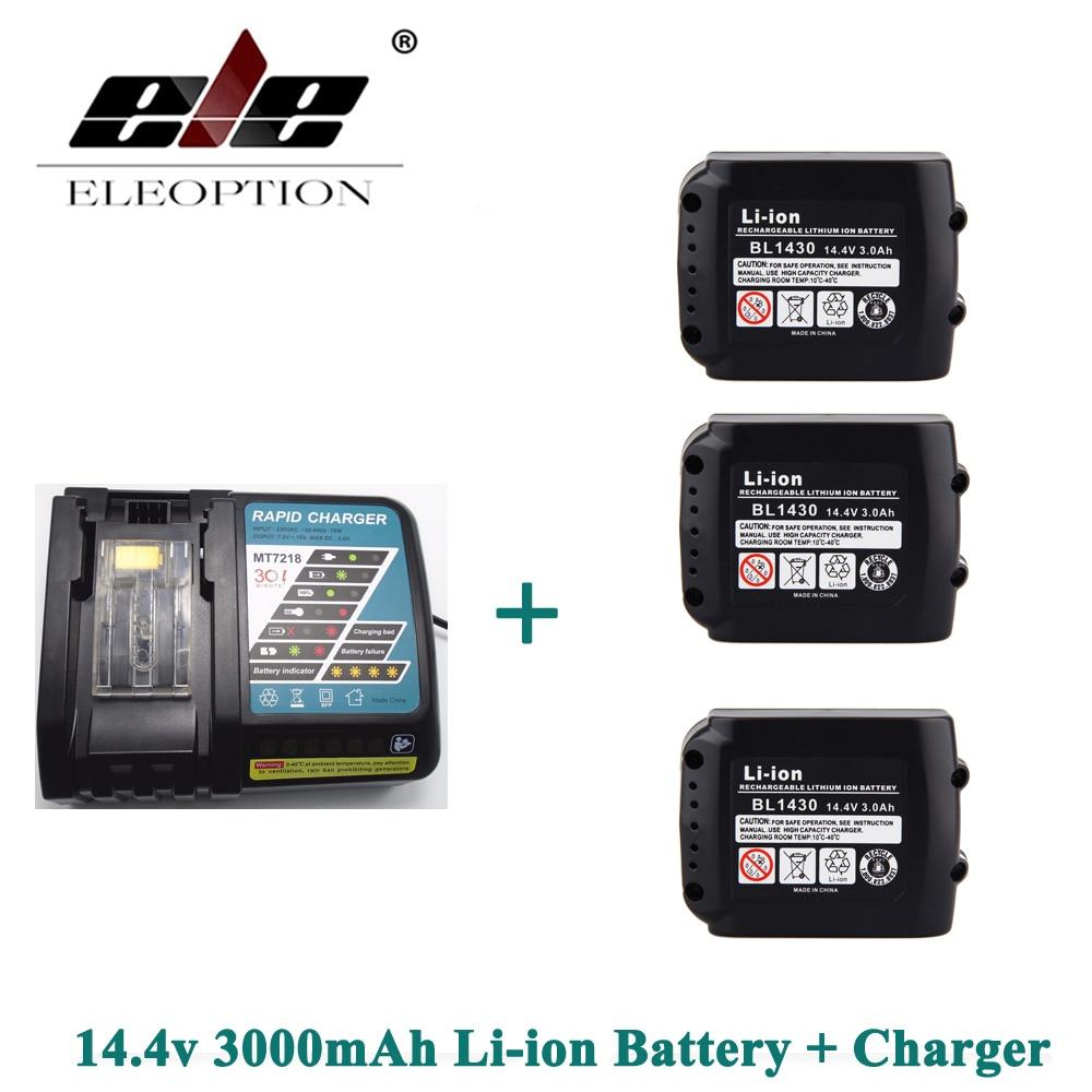 ELEOPTION 3000 mAh 3.0Ah 14.4 V Li-ion 3 pièces Rechargeable batterie pour Makita BL1415 BL1430 BL1440 + Chargeur