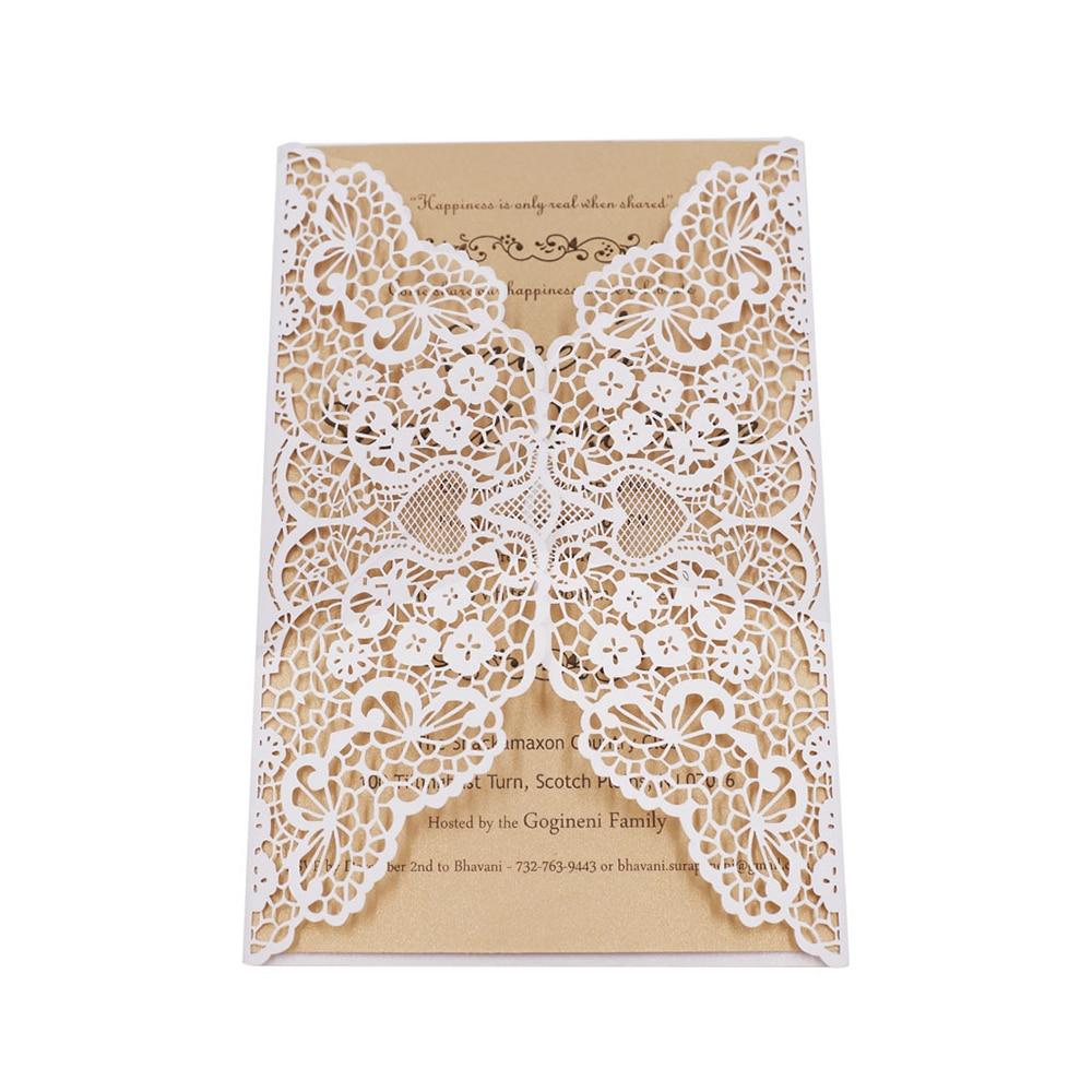 20 Pcs Elegant Lace Wedding Invitation Card With Printable Papermr