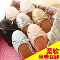 2016 Autumn Cone Round Flats Soft Bottom Shoes Pregnant Women Bow Peas Shoes Large Size Shoes Omelet Woman's 34-41