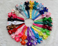 "25sets/lot 3.5"" Grosgrain Ribbon Hair bow headband Baby Boutique  fishtail Hairclip, Newborn Infant Toddler Hair Accessories  AH"