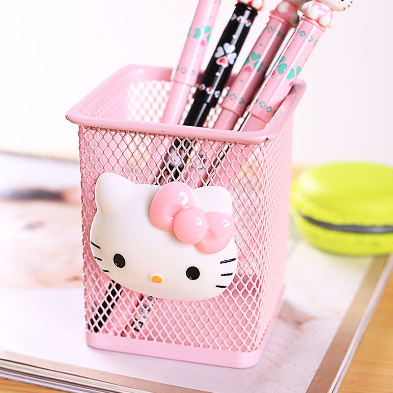 1 Pcs Cartoon Hello Kitty Metal Stationery Storage Box Household Manage Case Pencil Pen Holder Stand Student Stationery Supply