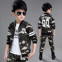 Children's Camouflage Suit 2018 Spring Autumn New Boys Cotton Sportswear Clothing Sets Army Uniform Kids Military Clothes X155