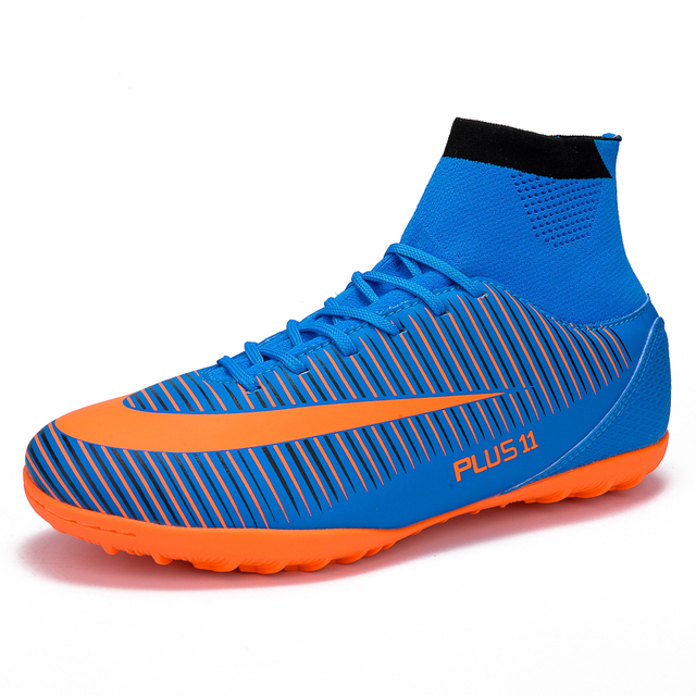 6cc68a7a2 LEOCI Men s Blue Orange High Ankle Turf Sole Indoor Cleats Football Boots  Shoes Kids Soccer Cleats EU size 31-46 voetbalschoenen
