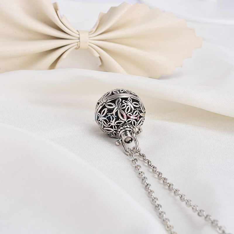 5Pcs Antique Silver 16mm Lava Stone Essential Oil Diffuser Necklaces For Aromatherapy Necklace