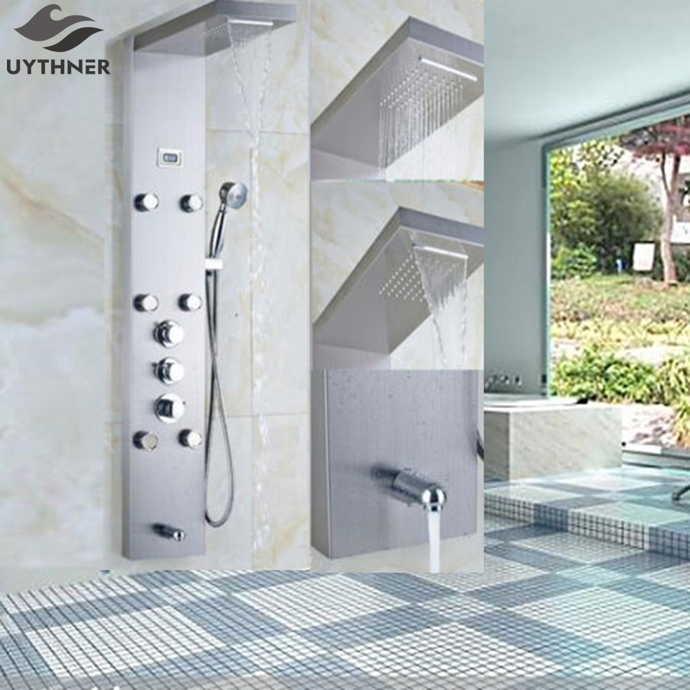 Newly Arrival Brushed Nickel Shower Faucet Mixer Tap Thermostatic Shower Panel Column Body Massage Jets Mixer Tap Waterfall Rain china sanitary ware chrome wall mount thermostatic water tap water saver thermostatic shower faucet