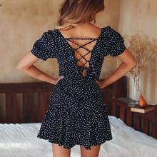 Cuerly Sexy polka dot print ruffle lace up dress Summer women elegant short Beach chiffon casual daily vestidos L5