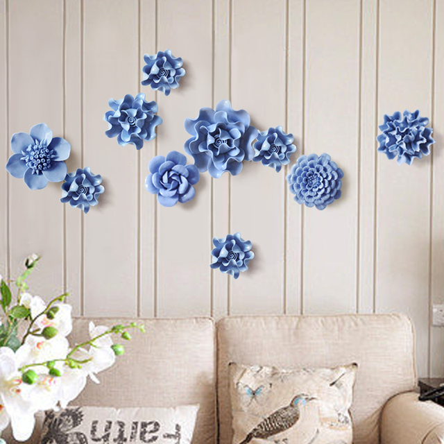 1 Pcs Ceramic Flower Home Creative Wall Decoration Handmade Flowers Decor Ornaments