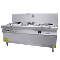 12kw Commercial Heavy Duty Stainless Steel Commercial 2 Burner Double Induction Cooker Wok Range Magnetic Cooker Easy Cook