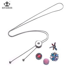 RoyalBeier 18mm Snaps Buttons Pendant Chain Adjustable Necklaces Night Club Sweater Necklace For Women Charming Jewelry Collier