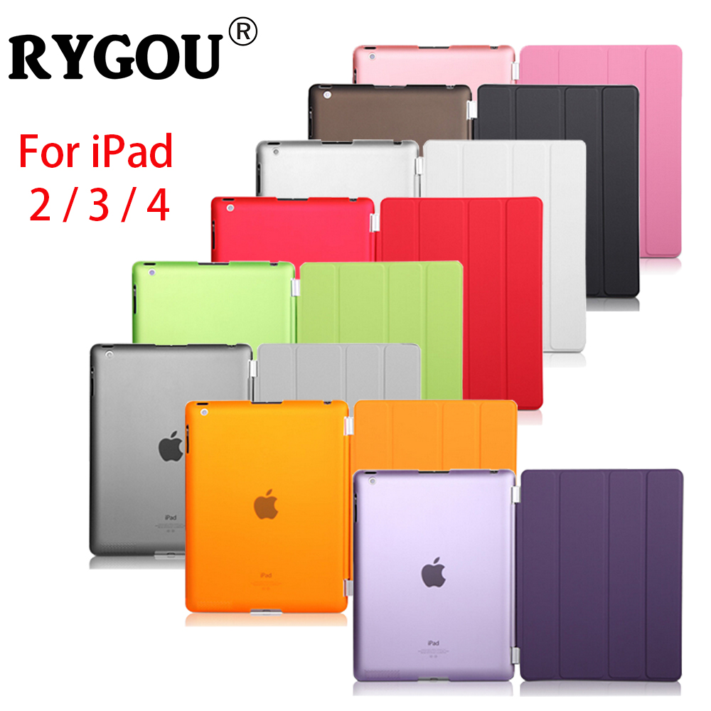 RYGOU Slim Magnetic Leather Smart Cover Case For Apple iPad 2 3 4 PU Leather Front Cover + PC Back Case for iPad2 iPad3 iPad4 surehin nice smart leather case for apple ipad pro 12 9 cover case sleeve fit 1 2g 2015 2017 year thin magnetic transparent back