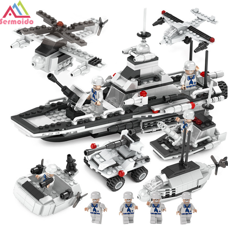 sermoido 6 IN 1 Military Building Blocks Bricks Figures Helicopter Weapon Compatible Legoe Educational Toys For Children DBP230 8 in 1 military ship building blocks toys for boys