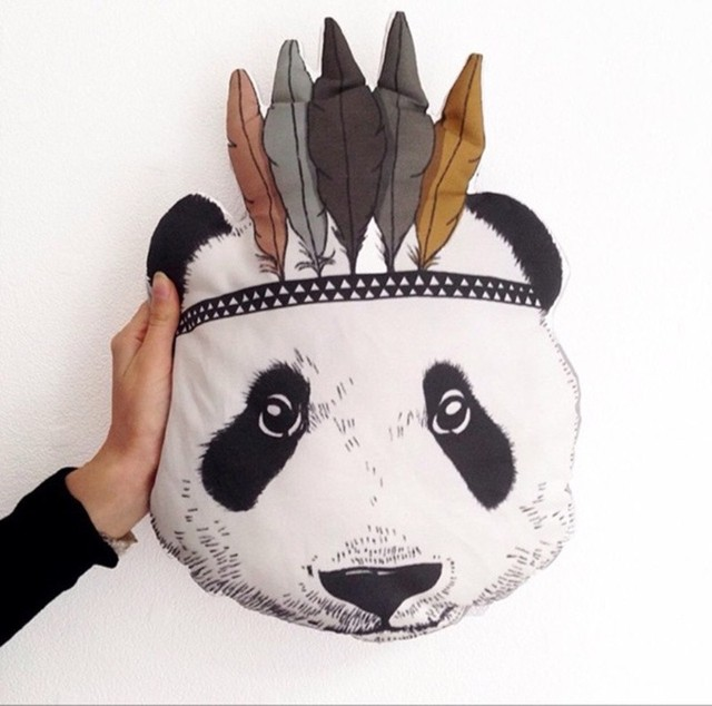 2017 New Fahion Baby Stuffed Toys Pillow Children Bedroom Bed Sofa Decorative Indian Panda Cushion Best Gift For Kids