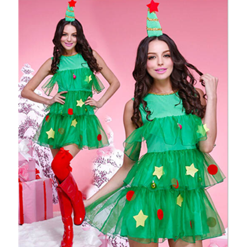 Shiny Green Female Costume Celebrate Party Show Elegant Christmas Tree Cosplay Halloween Adult Girls Clothing L70936