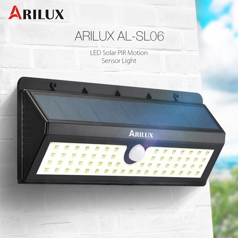 ARILUX AL-SL06 62 LED Solar Light Outdoor PIR Motion Sensor LED Wall Garden Light Waterproof IP65 Emergency Lamp 800LM 8W outdoor led garden light security 90 led solar light pir motion sensor solar powered emergency wall lamp waterproof ip65