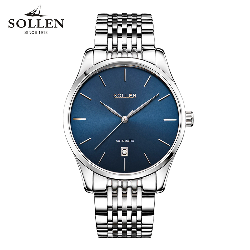 Relogio Masculino Brand SOLLEN original authentic men watch Tourbillon automatic strip mechanical watches calendar male clock forsining automatic tourbillon men watch roman numerals with diamonds mechanical watches relogio automatico masculino mens clock