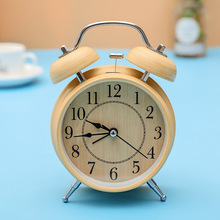 4″ Children Creative Small Mute Silent Round Double Bell Wood Student Alarm Clock Electronic Digital   Table Clock Desktop Clock