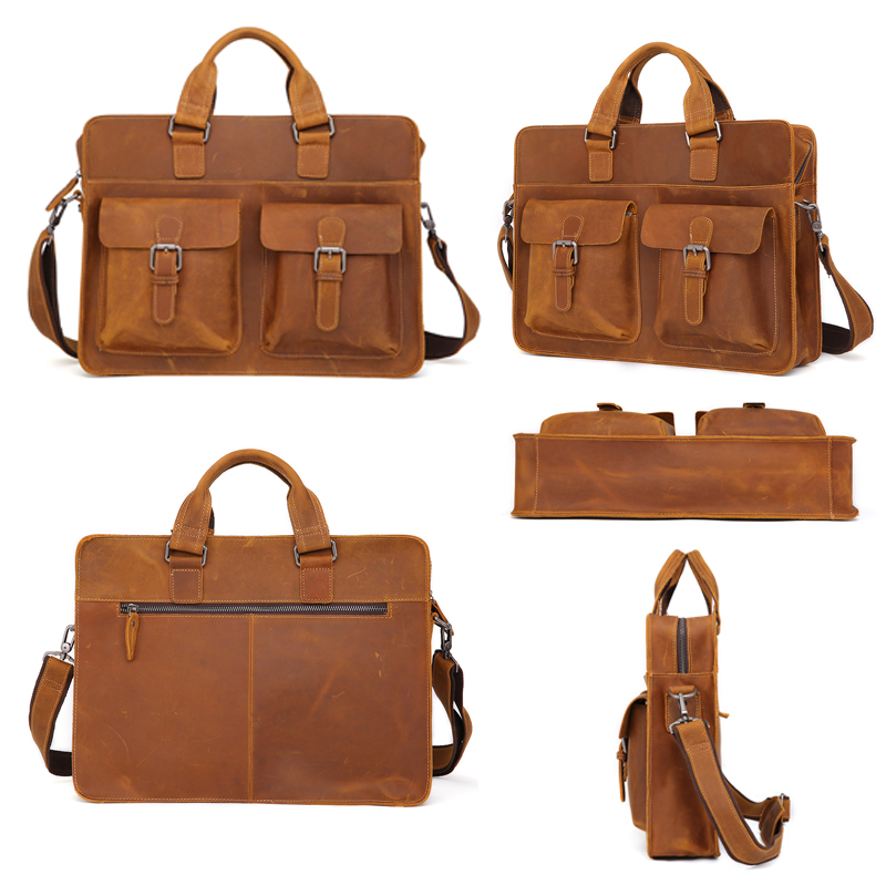JOYIR 2019 Vintage Men 39 s Cow Genuine Leather Briefcase Crazy Horse Leather Messenger Bag Male Laptop Bag Men Business Travel Bag in Briefcases from Luggage amp Bags