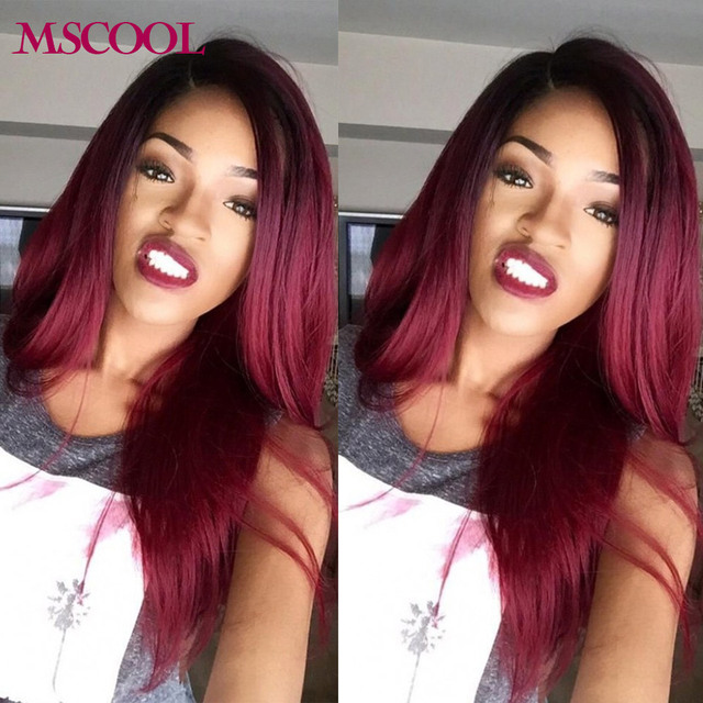 Burgundy Brazilian Hair Red Ombre Brazilian Virgin Hair Weave 4
