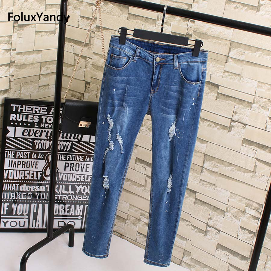 Ripped Jeans Women New Style Plus Size 3 4 5 XL Slim Elastic Pencil Pants Stretched Denim Jeans Trousers Blue KK1820 plus size pants the spring new jeans pants suspenders ladies denim trousers elastic braces bib overalls for women dungarees