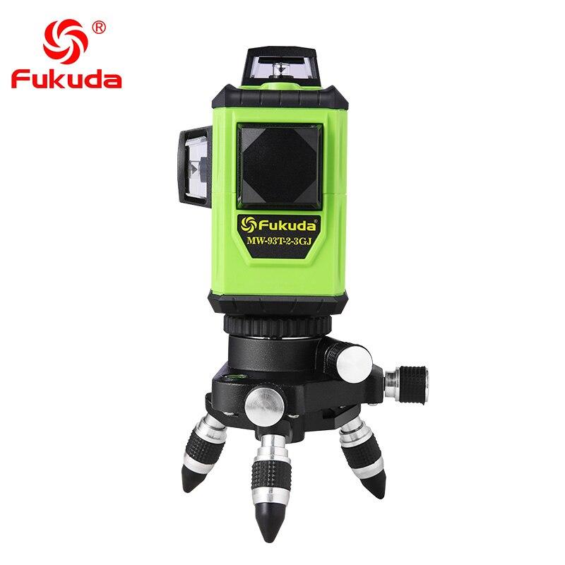 Фукуда бренд 12 линии 3D MW-93T-3G лазерный уровень наливные 360 горизонтальный и вертикальный крест супер мощный зеленый лазер луч линии