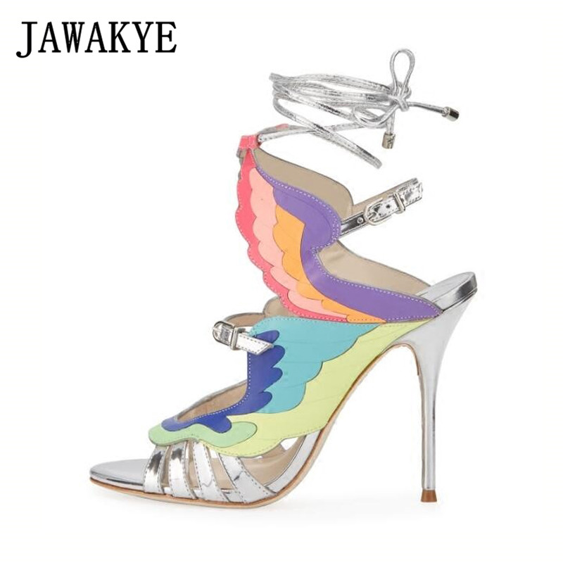 Runway Rainbow Wings Patterns Summer Sandals Women Mixed Color Peep Toe Sexy high heels Shoes fashion Sandalias MujerRunway Rainbow Wings Patterns Summer Sandals Women Mixed Color Peep Toe Sexy high heels Shoes fashion Sandalias Mujer