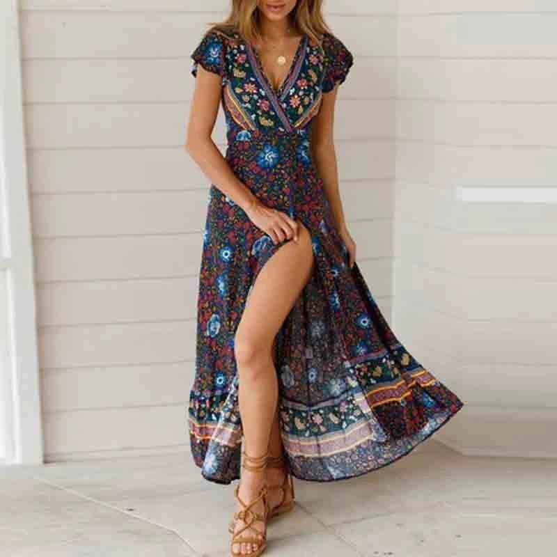 Bohemian Women Summer Beach Slip Dress Floral Print Long Shirt Dress Sundress