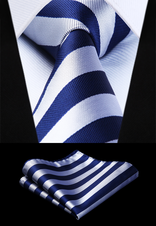 Party Wedding Classic Pocket Square Tie Woven Men Tie Navy Blue Gray Striped Necktie Handkerchief Set# TS724V8S