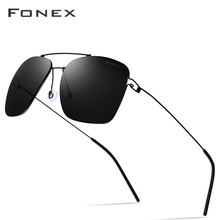 FONEX Polarized Sunglasses Men Ultralight 2019 Brand Design Mirror Alloy Oversize Square