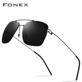 FONEX Polarized Sunglasses Men Ultralight 2019 Brand Design Mirror Alloy Oversize Square Sun Glasses for Men Screwless Eyewear - DISCOUNT ITEM  49% OFF All Category