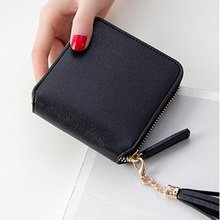 Womens wallet card bag ladies tassel zipper purse mini coin student square zip