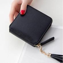 Women's wallet card bag ladies wallet tassel zipper ladies purse zipper mini coin purse student square zip coin purse цена 2017