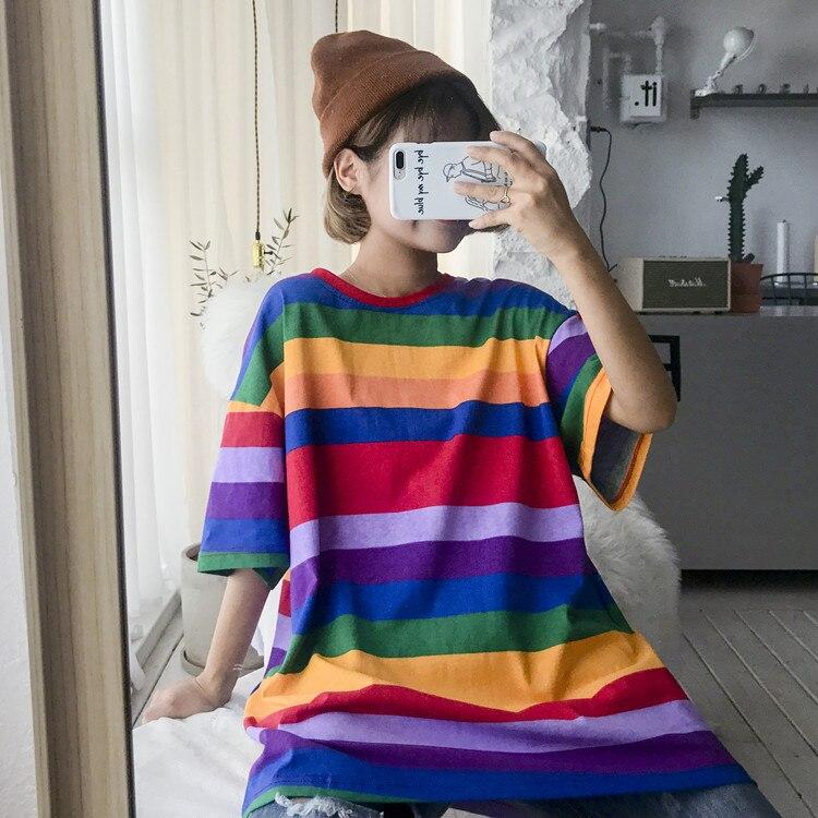 T-shirt Femme 2018 Summer Style Tops Korean Ulzzang Harajuku Rainbow Striped Patchwork T-shirts Women Casual Short Sleeve Tshirt
