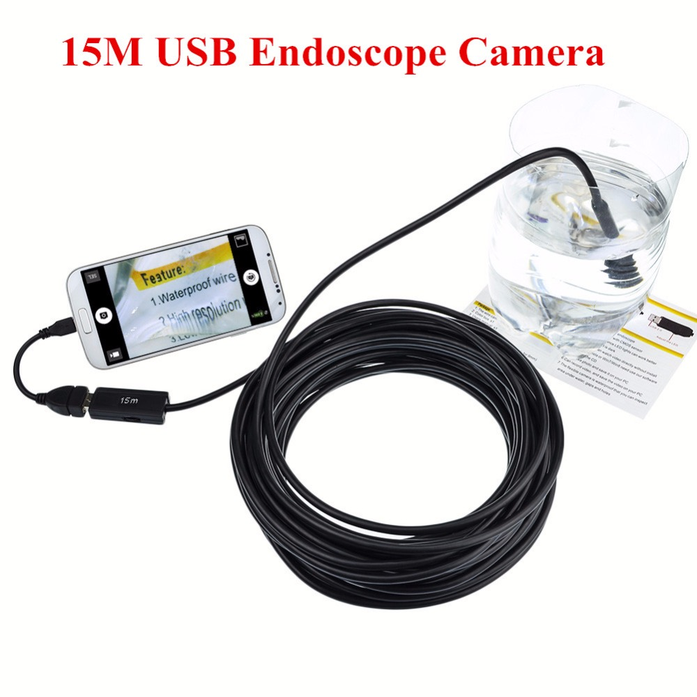 New 15M USB Borescope Endoscope Inspection Camera 4 LED 10mm Lens Diameter Waterproof Phone/Laptop Borescope Snake Tube Camera supereyes 3 5 monitor waterproof borescope videoscope 9mm diameter 800mm snake tube endoscope camera with led inspection n012j
