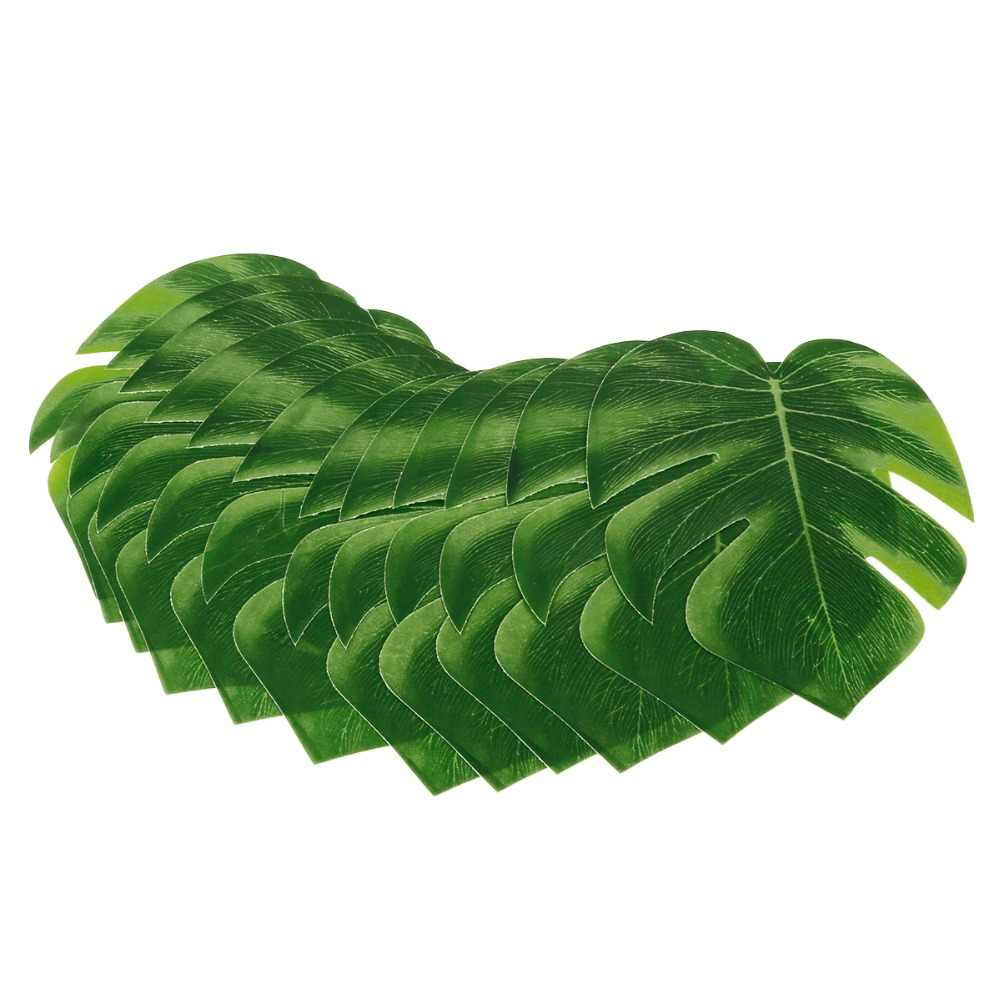10 Pcs 12 Stuks Groene Kunstmatige Tropische Palm Bladeren Hawaiiaanse Luau Party Jungle Strand Thema Partij Decoratie Hawaii