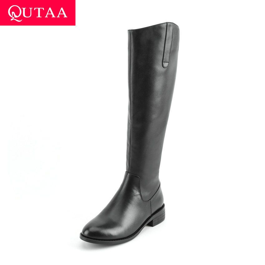 QUTAA 2020 New Winter Cow Leather Knee High Boots Fashion Metal Buckle Retro Low Heel Comfortable Casual Long Boots Size 34-40QUTAA 2020 New Winter Cow Leather Knee High Boots Fashion Metal Buckle Retro Low Heel Comfortable Casual Long Boots Size 34-40