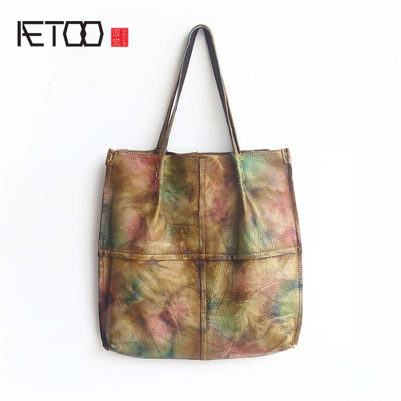 AETOO 17 new female bag autumn Europe and the United States first layer of leather bag shoulder leather bag retro composite bags aetoo europe and the united states first layer of oil wax leather men s handbag diagonal cross a4 package multi functional compu