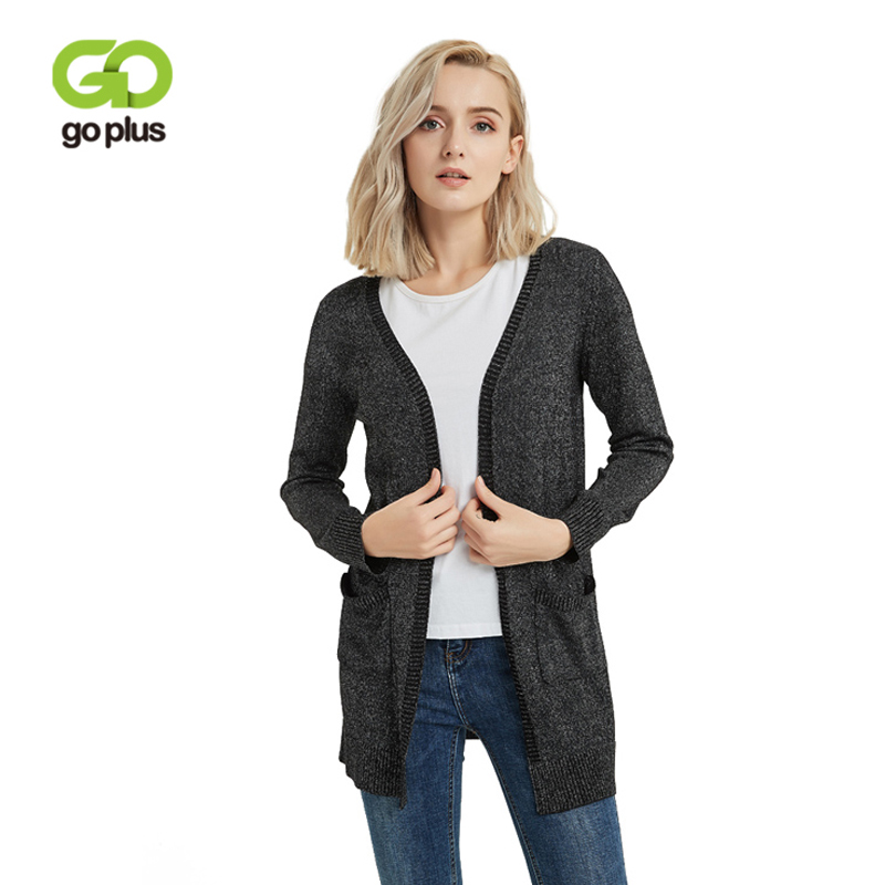 GOPLUS 2019 Autumn Shiny V-Neck Casual Sweater Women Long Knitted Cardigan Female Full Sleeve Outerwear For Office Lady C6253