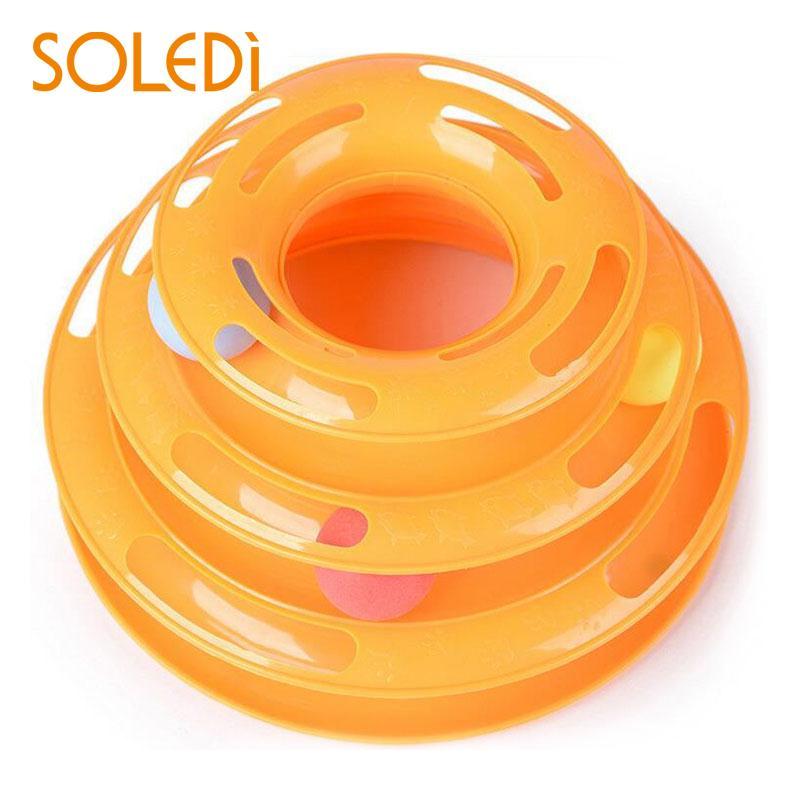 Three Levels Tracks Disc Cat Pet Toy Intelligence Amusement Rides Shelf Orange*
