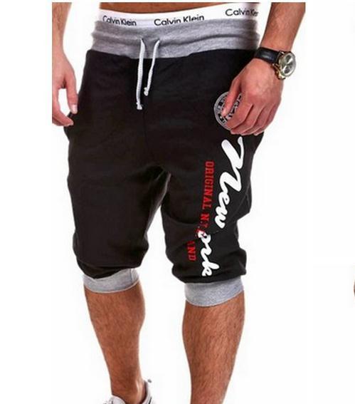 2017 dos homens ao ar livre verão impresso bezerro-comprimento baggy sweatpants casual harem hip hop patchwork cordão curto troursers m-xxl