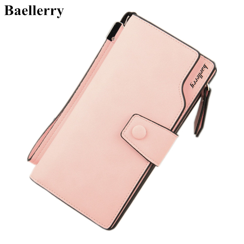 Baellerry Leather Wallets Women Long Designer Coin Purses Money Bag Credit Card Holder Zipper Phone Pocket Clutch Wallets Female  wallets men brand baellerry large capacity 16 card position credit card holder long zipper coin purse money bag purse cartera