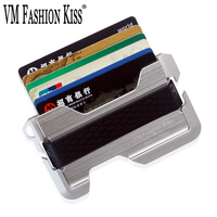 VM FASHION KISS Crazy Horse Leather RFID Blocking EDC Wallet CNC Aerospace Grade Aluminum Credit Card Holders Ultra thin Wallet