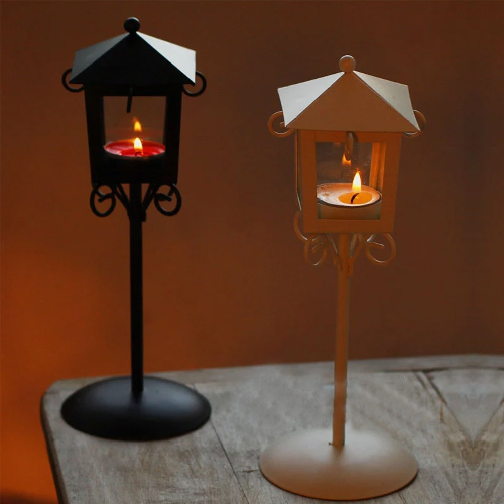 Tall wrought iron candle holders - Modern Nightstand Wedding Decor Glass Metal Tall Candle Holders For Wedding Centerpieces Lantern Decoration Wrought Iron