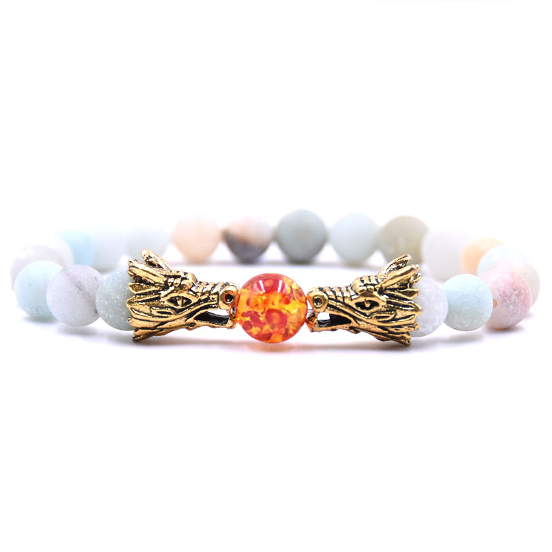 HYHONEY 8MM Natural Stone Beads Bracelet For Men bileklik Men Jewelry Dragon pulseras 13