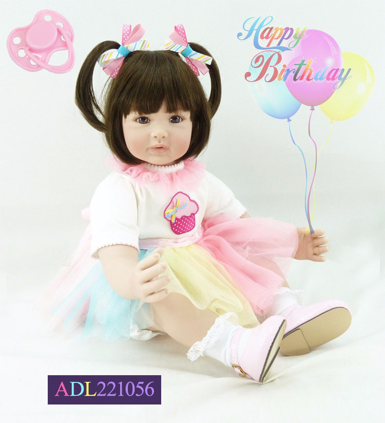 60cm Silicone Vinyl Reborn Baby Doll Toys Lifelike 24inch Pink Princess Toddler Babies Girl Doll Child Play House Toy 60cm silicone vinyl reborn baby doll toys girl brinquedos 24inch toddler princess doll play house toy child birthday gifts