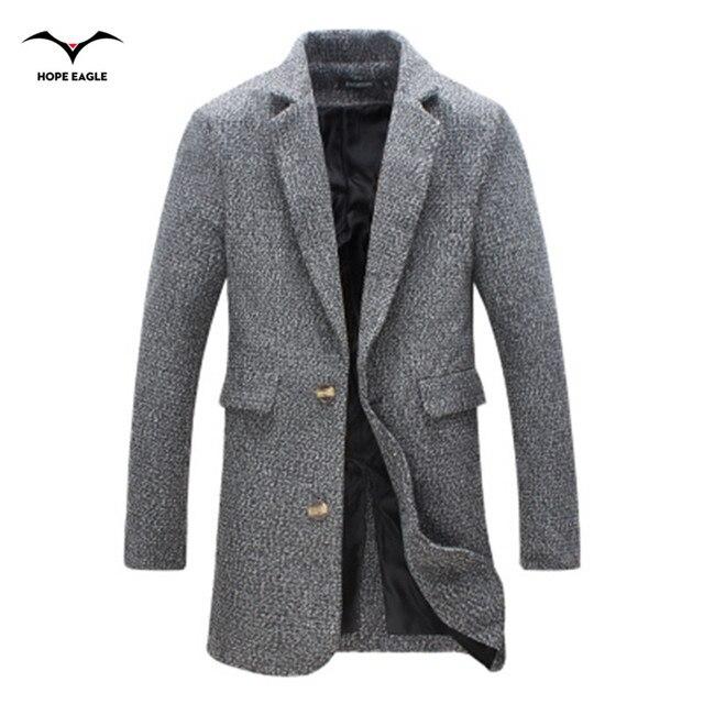 2017 мужская одежда повседневная Куртка мужская мода куртки шерстяные пальто Осень Длинный отрезок верхняя одежда плюс размер пальто