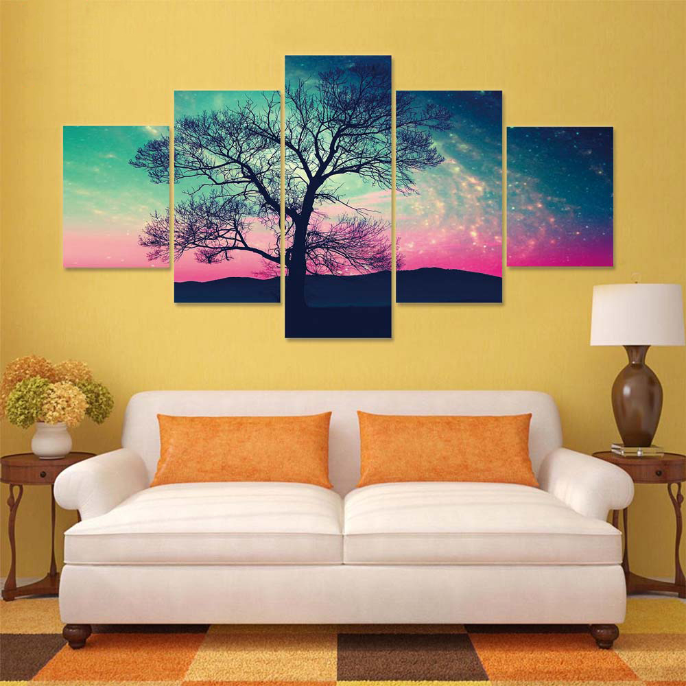 Home Decor Living Room Wall Art 5 Panel Beautiful Trees Night Scene ...