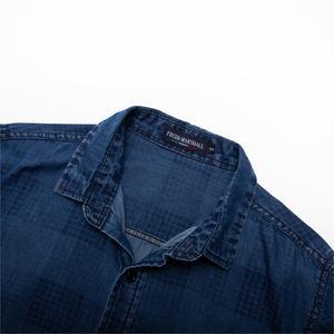 Image 3 - Fredd Marshall 2019 موضة جديدة قميص دينيم عادية الرجال سليم تيشيرت ضيق بأكمام طويلة 100% القطن منقوشة قميص الذكور ماركة الملابس 200